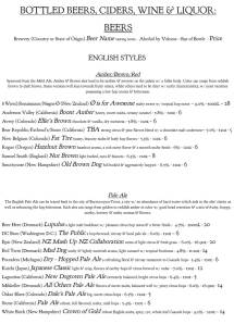 Pizzeria Paradiso menu, Washington, D.C.