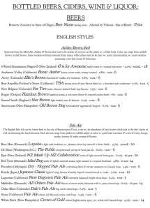 Pizzeria Paradiso menu, Washington, D.C.