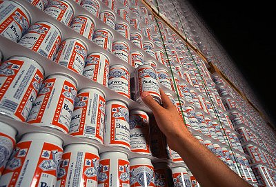 Stacks of New Budweiser Cans