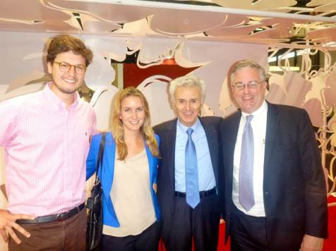 Adrien Duboeuf-Lacombe, Michelle Trone, Georges Duboeuf and David Trone at VinExpo 2013, Bordeaux, France