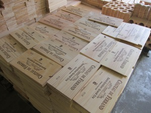 Wooden crates being prepared for Total Wine & More order at Château de Ferrand