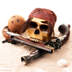 Pirate Skull at the Beach