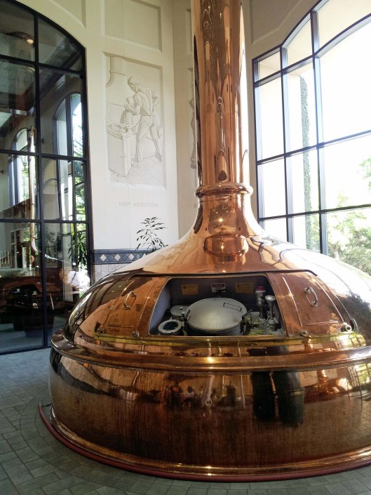 One of the beautiful solid copper brew kettles that Sierra Nevada purchased in Germany when the Brewery moved to its current Chico location in 1987.