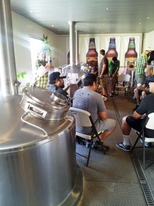 Discussing our brew  in Sierra Nevada's pilot brewery